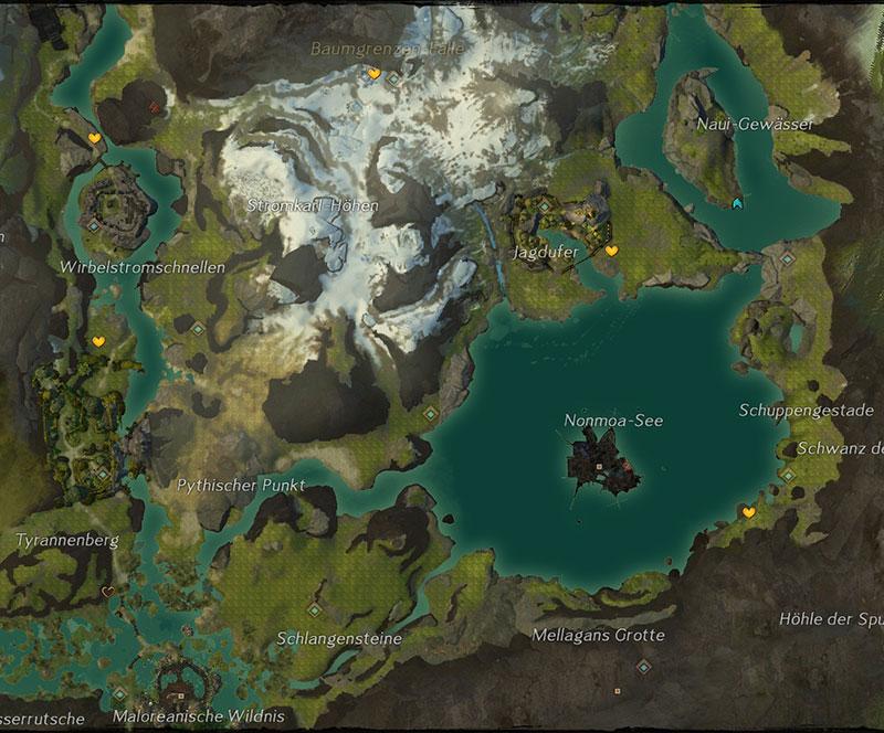 Gw2 Karte.Guild Wars 2 Kochbuch Baumgrenzen Fälle Jagdufer